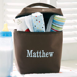 Boy's Personalized Bottle Bag with Burp Cloths