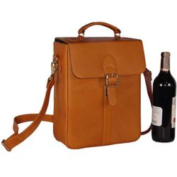 Tan Leather Deluxe Double Wine Bottle Carrier