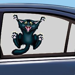 2 Crazy Cat Backseat Driver Car Clings