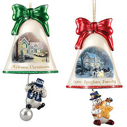 Thomas Kinkade Ringing in the Holidays Snowman Ornament Set