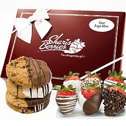 Chocolate Chip Covered Strawberries and Cookies Gift Box