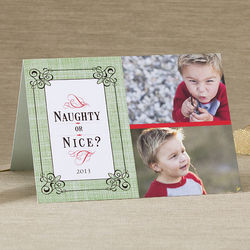 Naughty or Nice Personalized Two Photo Christmas Cards