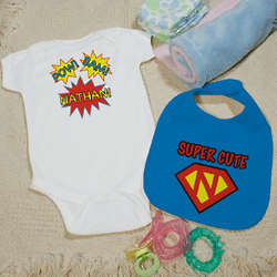 Personalized Superhero Bib and Creeper Set
