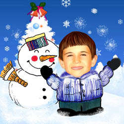 Your Photo in a Snowman Caricature