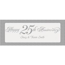Happy 25th Anniversary Personalized Silver Banner
