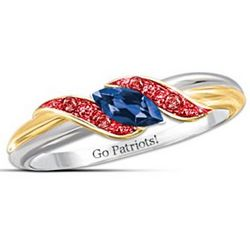 Pride of New England Patriots Blue Sapphire and Ruby Ring