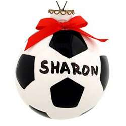 Personalized Soccer Ball Ceramic Ball Christmas Ornament