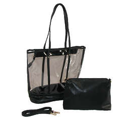 Clear Tote with Mini Solid Cross Body Bag