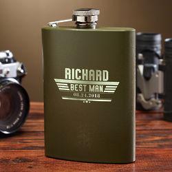 Personalized Maverick Green Military Flask