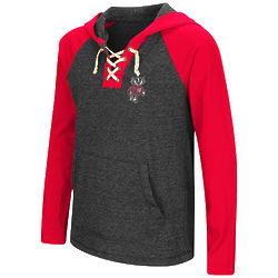 Girl's Wisconsin Badgers Lace Up Long Sleeve Hooded Tee