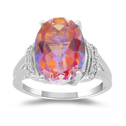 Mystic Azotic Topaz Ring in 10K White Gold