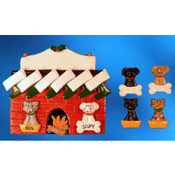 Fireplace with Dogs and Cats Stockings Christmas Ornament