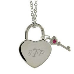Austrian Crystal Locked Heart and Key Birthstone Pendant