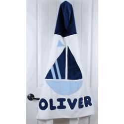 Personalized Sailboat Hooded Towel