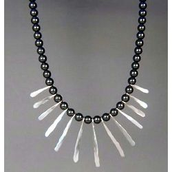 Hematite and Sterling Fingers Necklace