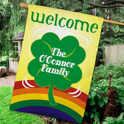 Personalized Four Leaf Clover House Flag