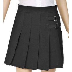 Girl's Pleated Scooter/Skirt with Side Buckle Accent