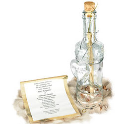 Royal Message in a Bottle Invitation with Engravable Glass Heart
