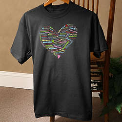 Her Heart of Love Personalized Black T-Shirt