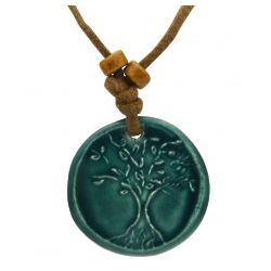 Tree of Life Teal Pendant Necklace