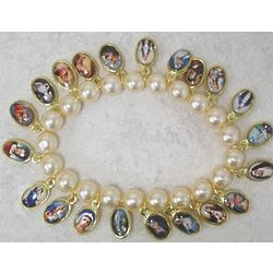 Catholic Saints Glass Pearl Bracelet