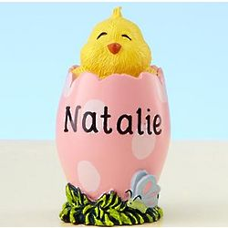 Pink Polka Dot Personalized Easter Chick Figurine