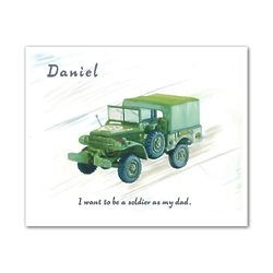 Army Transport Truck Personalized Watercolor Art Print