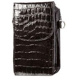 Black Crocodile Smartphone Accordion Wallet