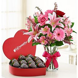 Fun and Flirty Chocolate Covered Strawberries and Flowers
