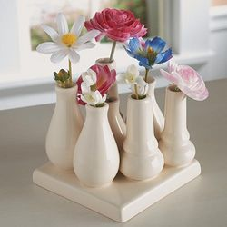 Hand-Glazed Ceramic Bud Vase Collage