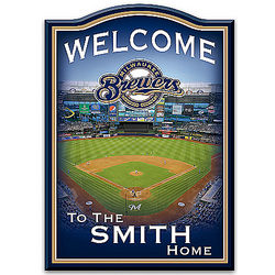 Milwaukee Brewers Personalized Wooden Welcome Sign