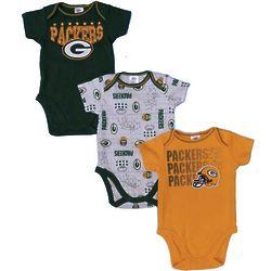 3 Green Bay Packer Baby Bodysuits