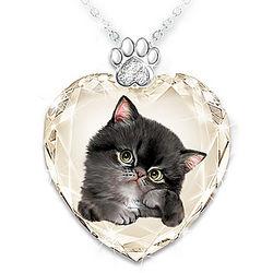 Kayomi Harai Sassy Cat Crystal Heart Pendants