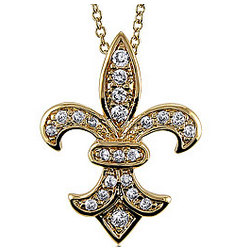 14K Gold Vermeil Fleur De Lis Cubic Zirconia Pendant Necklace