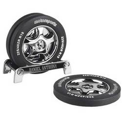 Personalized Tire Coaster Set with Metal Holder
