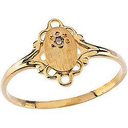 14k Gold Children's Diamond Signet Ring