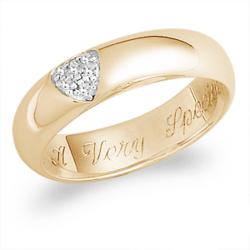 18K Gold over Sterling Pave CZ Heart Engraved Message Ring