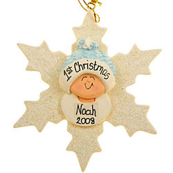 Personalized Baby Boy First Ornament Snowflake