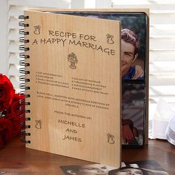 Recipe for A Happy Marriage Personalized Wood Photo Album