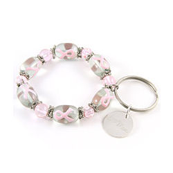 Personalized Awareness Ribbon Charm Bracelet Keychain