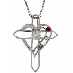 3 Birthstone Heart With Cross Pendant