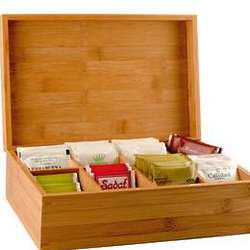 Personalized Bamboo Tea Organizer Box