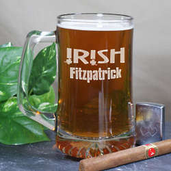 Engraved Irish Name Glass Mug