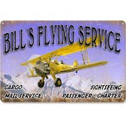 Personalized Vintage Flying Service Metal Sign