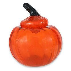 Pumpkin Blown Glass Candy Jar