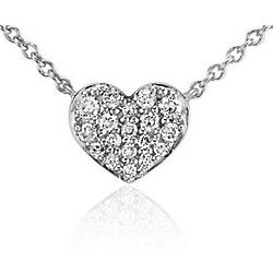 14K White Gold Mini Diamond Heart Necklace
