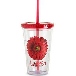 Personalized On the Go Red Flower Tumbler
