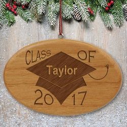 Engraved Graduation Class of Wooden Ornament