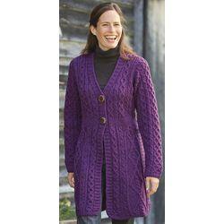 Merino Wool Irish Aran Knit Cardigan