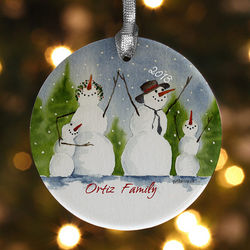 Snow Family Personalized Porcelain Ornament